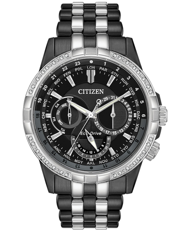 Citizen - Men's Stainless Steel Eco-Drive Diamond Watch - BU2088-50E - 767727