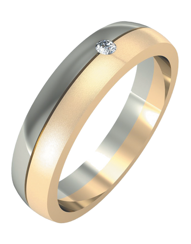 Wedding Band - Men's Two Tone Diamond Set Wedding Band - 755106