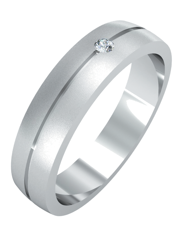 Wedding Band - Men's White Gold Diamond Set Wedding Band - 755099 - Salera's