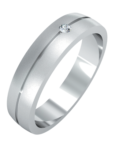 Wedding Band - Men's White Gold Diamond Set Wedding Band - 755099