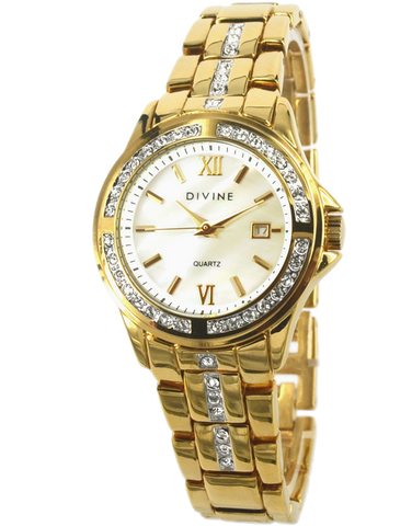 Divine - Ladies Gold Tone Crystal Set Watch - DW1075-1