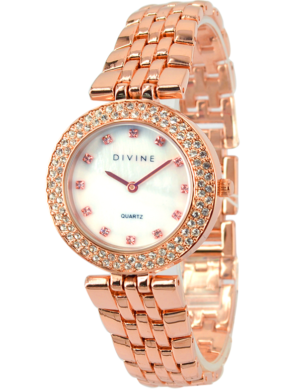 Divine - Ladies Rose Tone Crystal Set Watch - DW1091-3