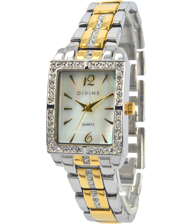 Divine - Ladies Two Tone Crystal Set Watch - DW1093-4