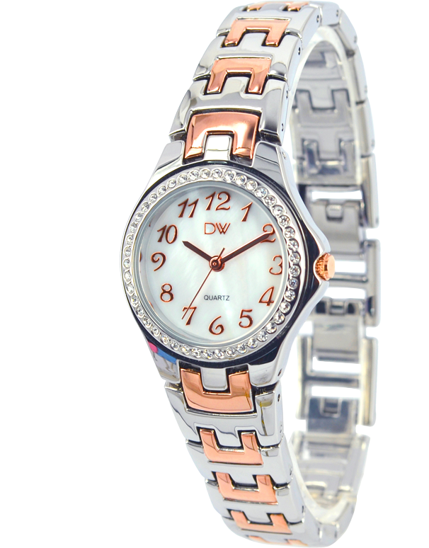Divine - Ladies Two Tone Crystal Set Watch - DW2084-5