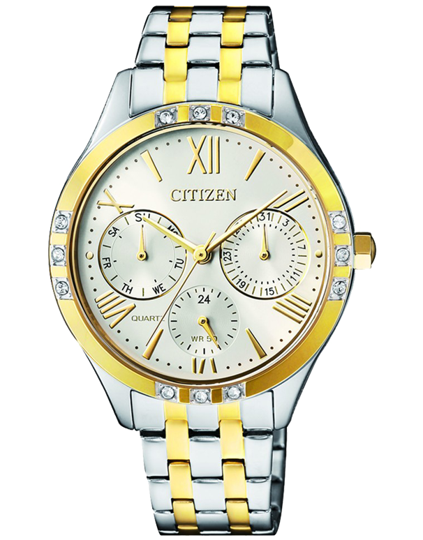 Salera's Citizen Watch - Ladies's Quartz Stainless Steel Two Tone White Dial Chronograph Watch