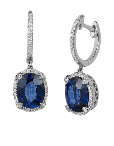 Effy Gemma - 14ct White Gold Sapphire and Diamond Earrings