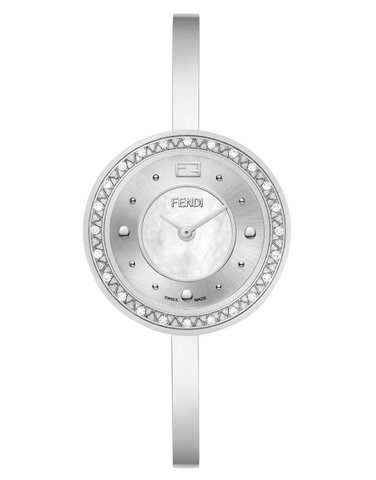 Fendi My Way, Round curved case watch with fur colar - F378024500