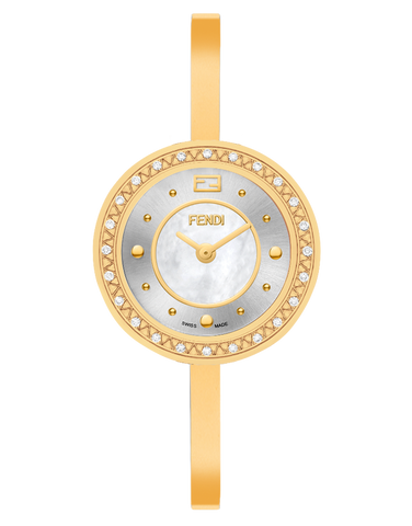Fendi My Way, Round curved case watch with fur colar - F378424500B0