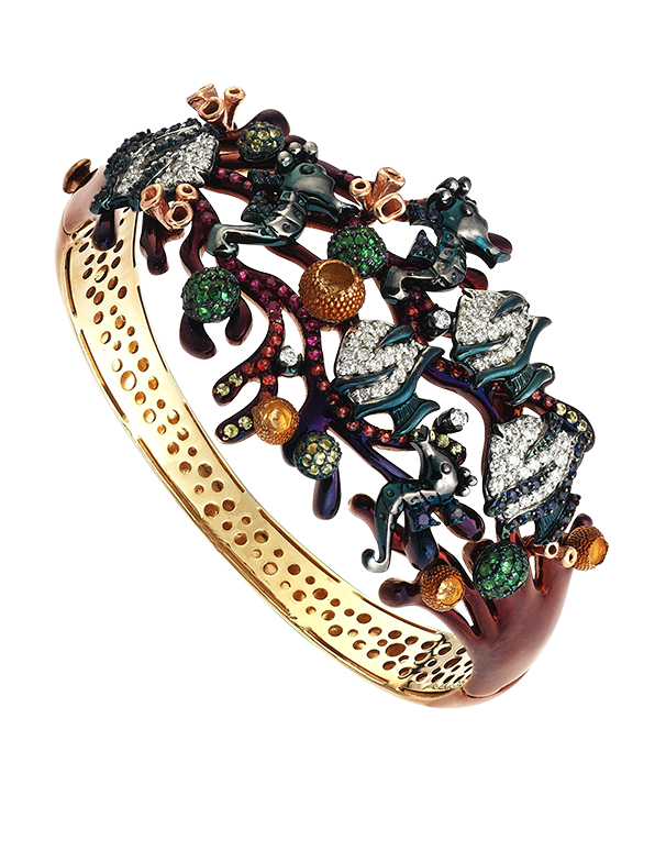Roberto Bravo - 14ct Yellow Gold Diamond Gemstone & Enamel Bangle - 771245 - Salera's