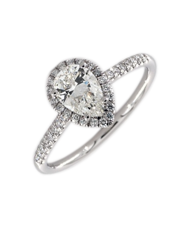 Diamond Ring - 0.50-1.00ct Pear Cut Halo Engagement Ring
