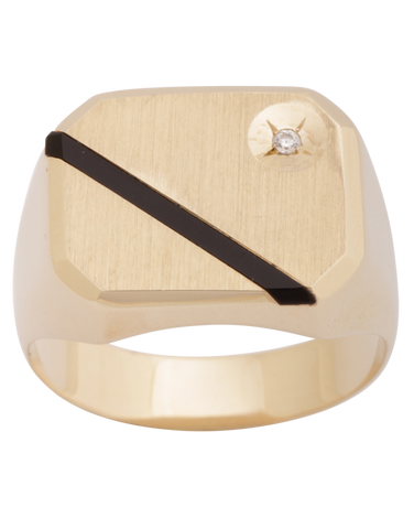 Men's Ring - 10ct Yellow Gold Onyx and CZ Ring - 771361