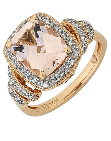 Morganite Ring - Rose Gold Morganite and Diamond Ring - 768145
