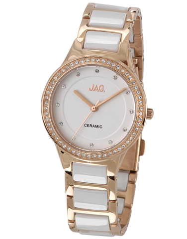 JAG - Ceramic Link Bling Rose Gold Watch - J1675A