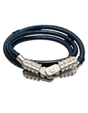 SEVENFRIDAY Bracelet - Jumper Essence Stainless Steel & Blue Leather Bracelet - JMP1/01 - 768916