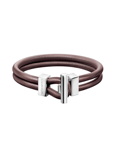 Calvin Klein Anchor - Stainless Steel & Brown Leather Bracelet - KJ8WCB09010L - 767849