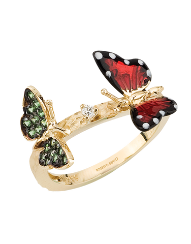Roberto Bravo - 14ct Yellow Gold Diamond Tsavorite & Enamel Ring - 771250