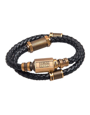 SEVENFRIDAY Bracelet - Plumber Revolution Brass & Dark Brown Leather Bracelet - PLB2/01 - 768900