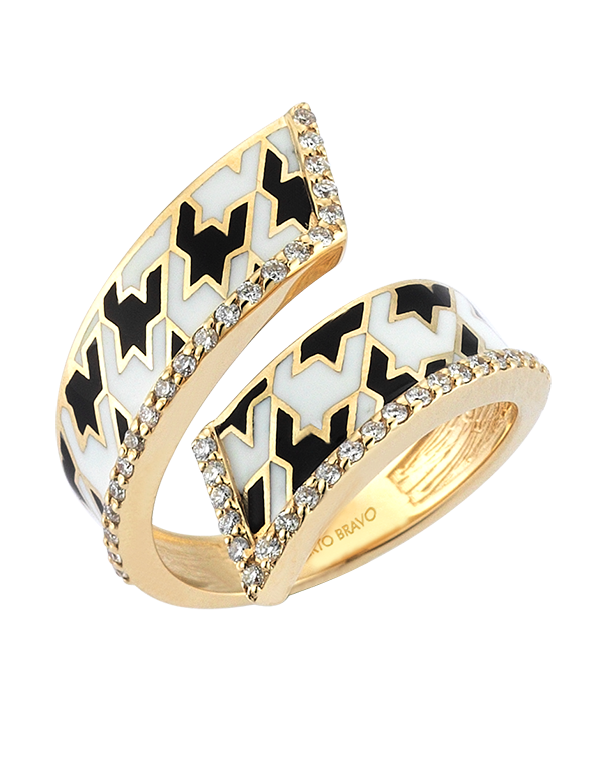 Roberto Bravo - 14ct Yellow Gold White Sapphire Black & White Enamel Ring - 771261 - Salera's