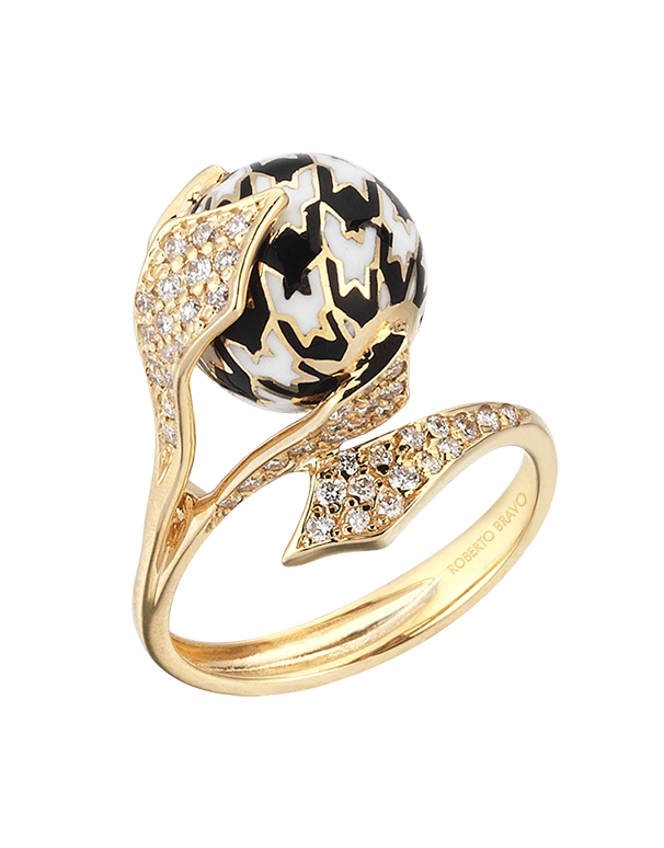 Roberto Bravo - 14ct Yellow Gold White Sapphire Black & White Enamel Ring - 771263 - Salera's