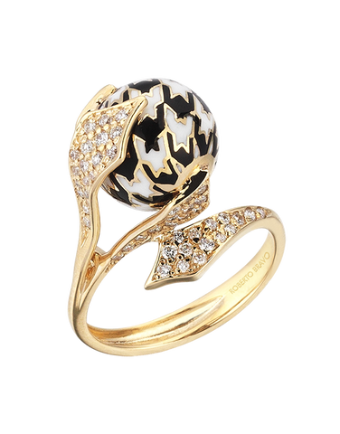 Roberto Bravo - 14ct Yellow Gold White Sapphire Black & White Enamel Ring - 771263