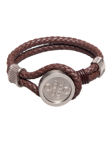 SEVENFRIDAY Bracelet - Piston Essence Stainless Steel & Brown Leather Bracelet - PST1/01 - 768907