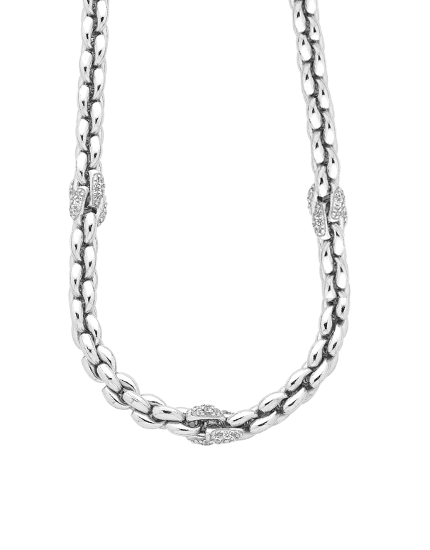 Silver Necklace - Sterling Silver CZ Set Collier - 753749 - Salera's Melbourne, Victoria and Brisbane, Queensland Australia