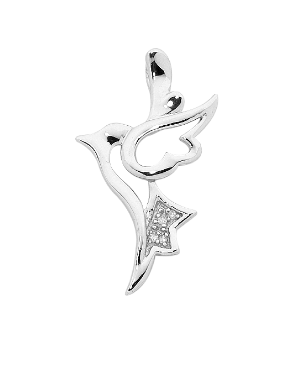 Silver Pendant - Sterling Silver CZ Set Dove Pendant - 756365 - Salera's Melbourne, Victoria and Brisbane, Queensland Australia