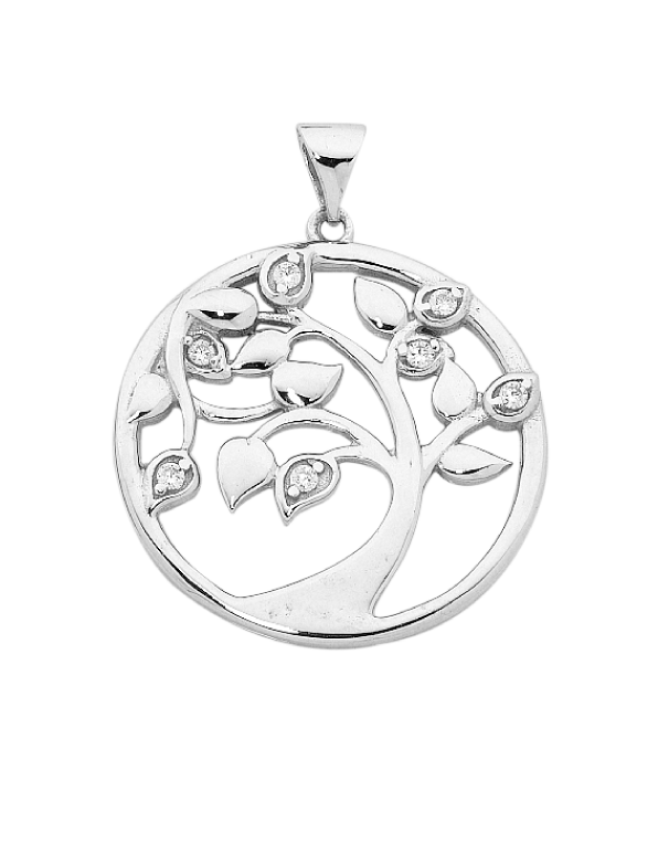 Silver Pendant - Sterling Silver CZ Set Tree of Life Pendant - 756369 - Salera's Melbourne, Victoria and Brisbane, Queensland Australia