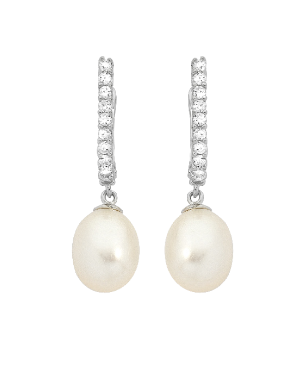 Pearl Earrings - Sterling Silver Pearl and CZ Earrings - 745079 - Salera's Melbourne, Victoria and Brisbane, Queensland Australia