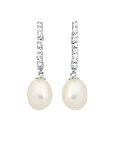 Pearl Earrings - Sterling Silver Pearl & CZ Earrings - 745079