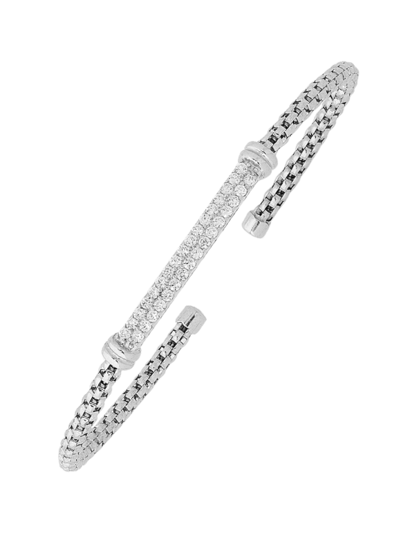 Silver Bangle - Sterling Silver CZ Set Bangle - 753755 - Salera's Melbourne, Victoria and Brisbane, Queensland Australia