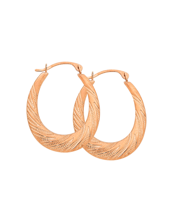 Gold Earrings 9ct Rose Gold Hoop Earrings