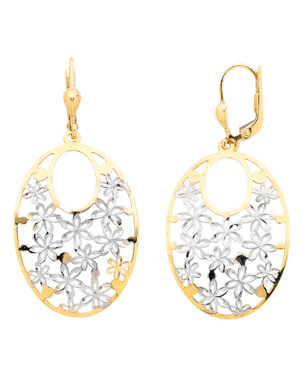 Gold Earrings - Two Tone Gold Drop Earrings - 756167 - Salera's Melbourne, Victoria and Brisbane, Queensland Australia