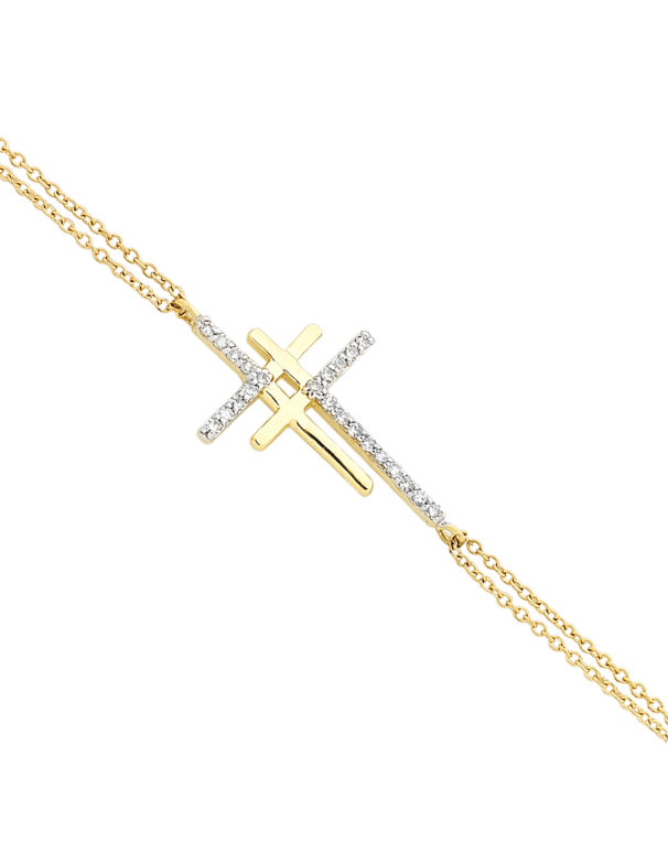 Diamond Bracelet - Yellow Gold Double Cross Bracelet - 756305 - Salera's Melbourne, Victoria and Brisbane, Queensland Australia