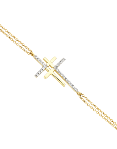 Diamond Bracelet - Yellow Gold Double Cross Bracelet - 756305