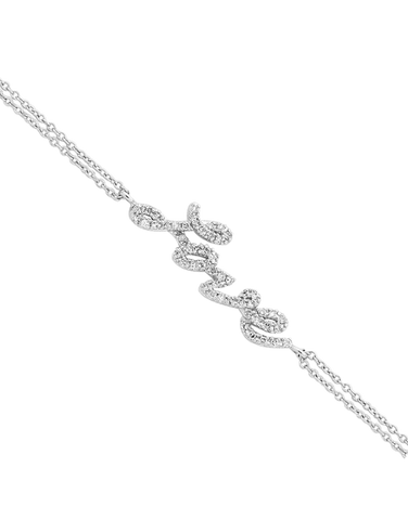 "Diamond Bracelet - White Gold Diamond Set ""Love"" Bracelet - 756306"