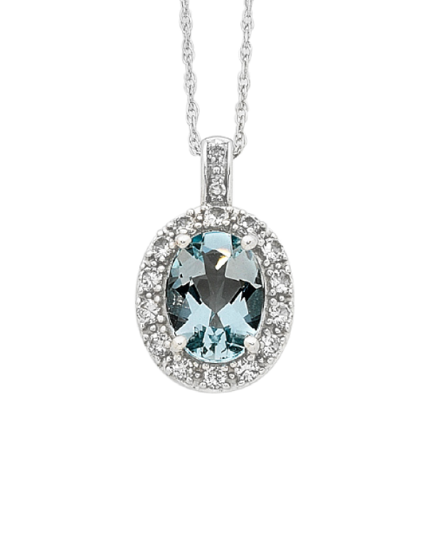 Aquamarine Pendant - White Gold Aquamarine and Diamond Pendant - 756320 - Salera's Melbourne, Victoria and Brisbane, Queensland Australia