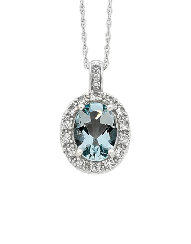 Aquamarine Pendant - White Gold Aquamarine and Diamond Pendant - 756320