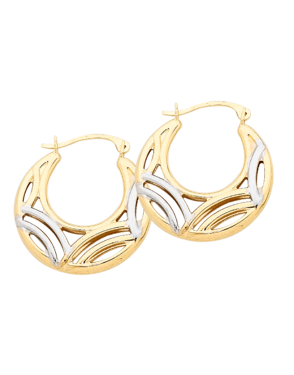 Gold Earrings - Two Tone Gold Hoop Earrings - 756376 - Salera's Melbourne, Victoria and Brisbane, Queensland Australia