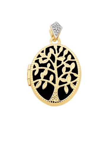 Gold Pendant - Yellow Gold Tree of Life Locket - 756386