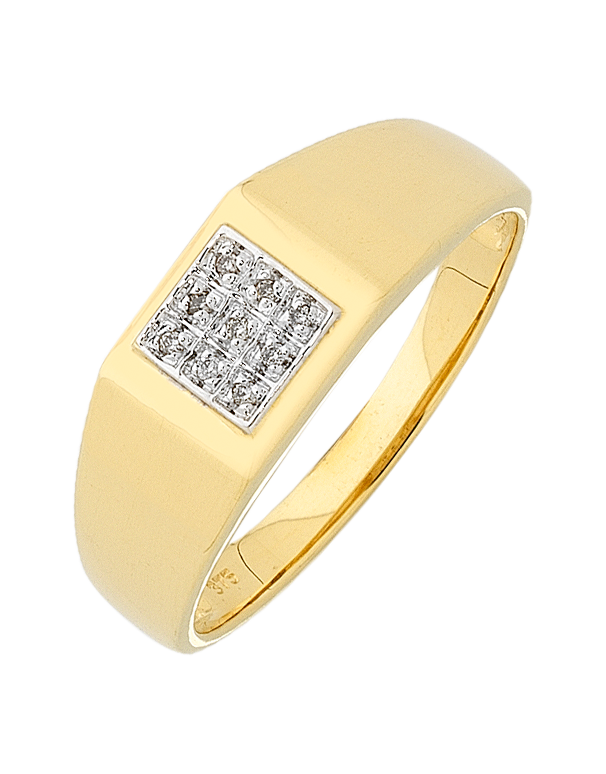 Men's Ring - 9ct Yellow Gold Diamond Set Ring - 754272 - Salera's Melbourne, Victoria and Brisbane, Queensland Australia