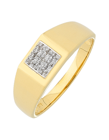 Men's Ring - Yellow Gold Diamond Set Ring - 754272