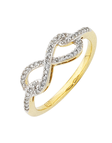 Diamond Ring - Yellow Gold Infinity Diamond Ring - 754106