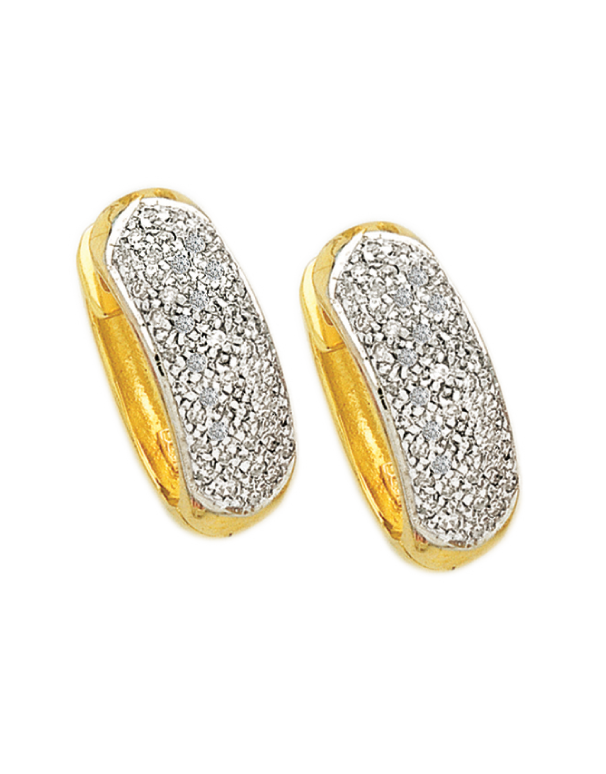 Diamond Earrings - Diamond Set Yellow Gold Hoops - 171275 - Salera's Melbourne, Victoria and Brisbane, Queensland Australia