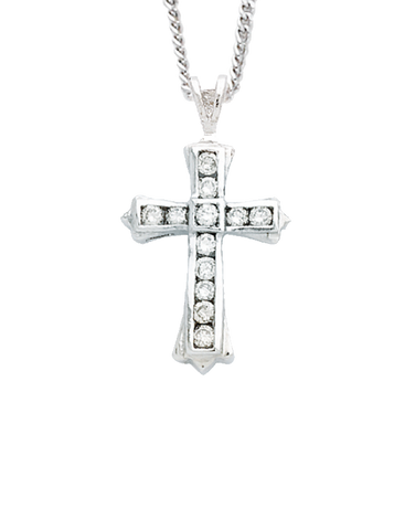 Diamond Cross - 9ct White Gold Diamond Cross - 431041