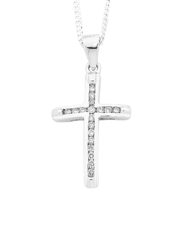 Diamond Cross - 9ct White Gold Diamond Cross - 431045