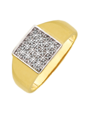 Men's Ring - Yellow Gold Diamond Set Ring - 640004