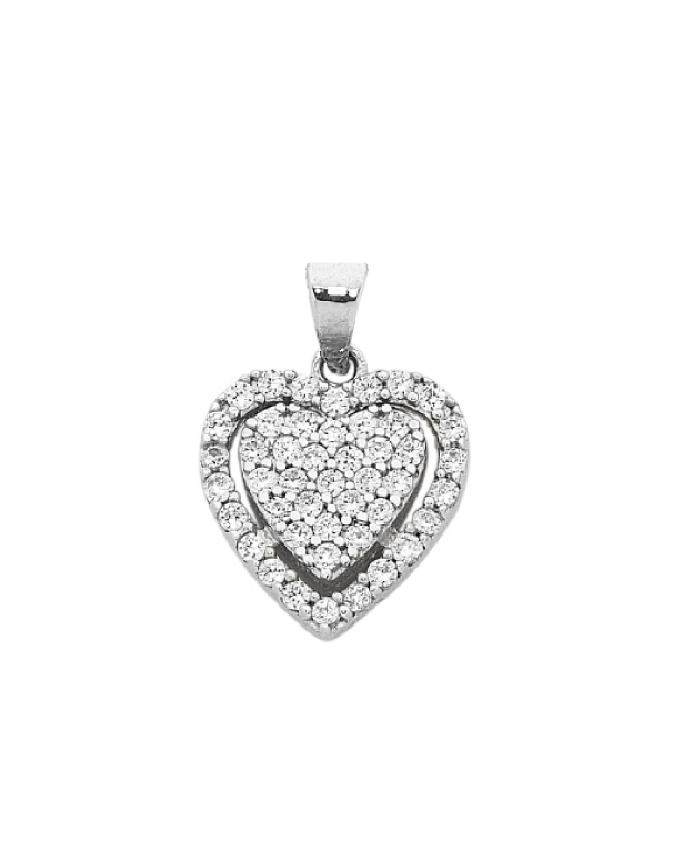 CZ Pendant - 9ct White Gold Cubic Zirconia Heart Pendant - 749741 - Salera's Melbourne, Victoria and Brisbane, Queensland Australia