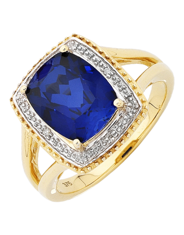 Sapphire Ring - 9ct Yellow Gold Sapphire and Diamond Ring - 754069 - Salera's Melbourne, Victoria and Brisbane, Queensland Australia