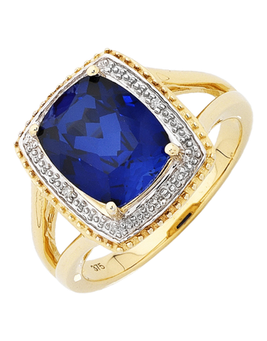 Sapphire Ring - 9ct Yellow Gold Sapphire and Diamond Ring - 754069